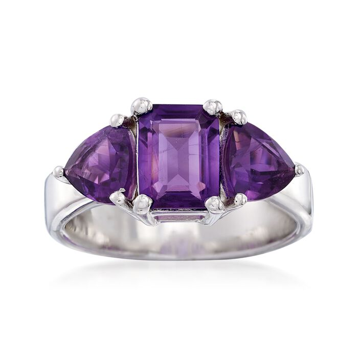 2.10 ct. t.w. Amethyst Three-Stone Ring in Sterling Silver