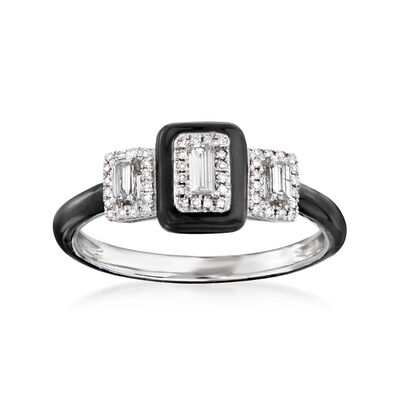 .25 ct. t.w. Diamond Ring with Black Enamel in 18kt White Gold