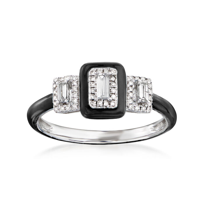 .25 ct. t.w. Diamond Ring with Black Enamel in 18kt White Gold. Size 7