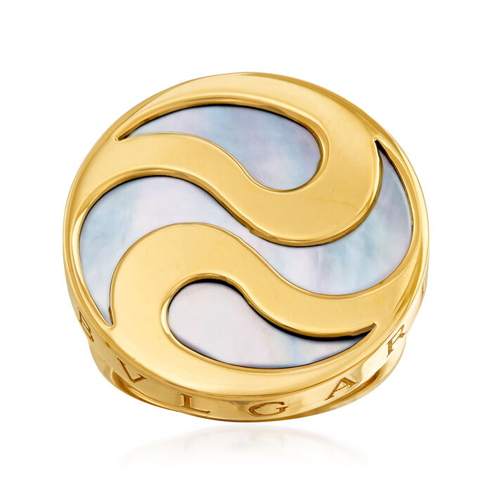 C. 1990 Vintage Bulgari Mother-Of-Pearl Swirl Ring in 18kt Yellow Gold. Size 5.5