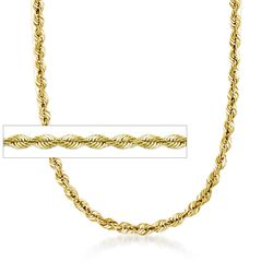 5.8mm 18kt Gold Over Sterling Silver Rope Chain Necklace, , default