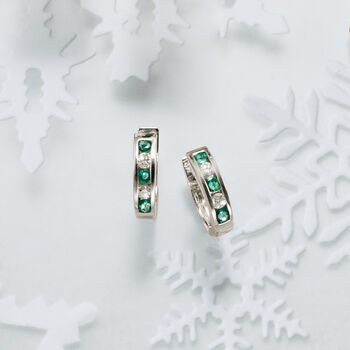 """.25 ct. t.w. Emerald and .15 ct. t.w. Diamond Hoop Earrings in 14kt White Gold. 1/2"""", , default"""