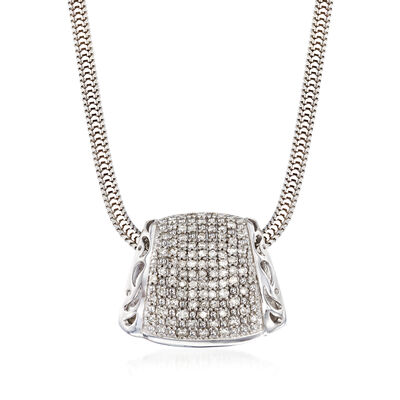 .41 ct. t.w. Pave Diamond Pendant Necklace in Sterling Silver, , default