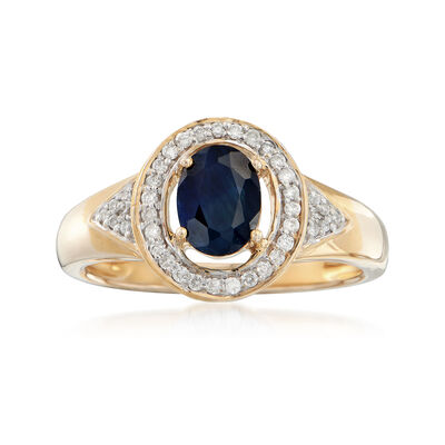 .90 Carat Sapphire and .16 ct. t.w. Diamond Ring in 14kt Yellow Gold, , default