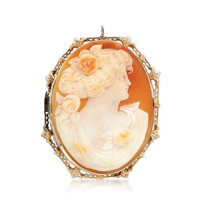 C. 1950 Vintage Shell Cameo Pin Pendant in 14kt White Gold, , default