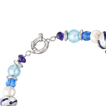 Italian Multicolored Murano Bead and 6mm & 10mm Cultured Pearl Torsade Necklace in Sterling Silver