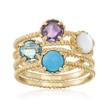 Italian Multi-Stone Jewelry Set: Four Stackable Rings in 14kt Yellow Gold, , default