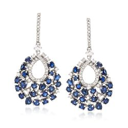 6.60 ct. t.w. Sapphire and 1.00 ct. t.w. Diamond Teardrop Earrings in 14kt White Gold, , default