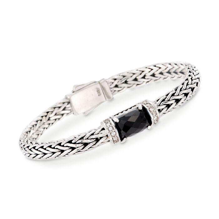 "Phillip Gavriel ""Woven"" Black Onyx and .30 ct. t.w. White Sapphire Link Bracelet in Sterling Silver. 7.5"", , default"