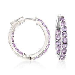 2.80 ct. t.w. Amethyst Inside-Outside Hoop Earrings in Sterling Silver, , default