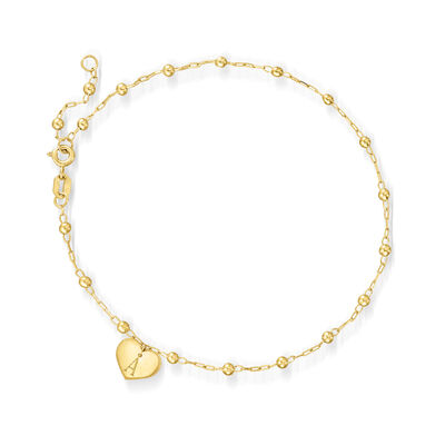 Italian 14kt Yellow Gold Bead-Link Anklet with Personalized Heart Charm