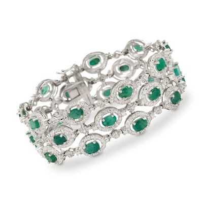 9.55 ct. t.w. Emerald Bracelet With Diamond Accents in Sterling Silver, , default