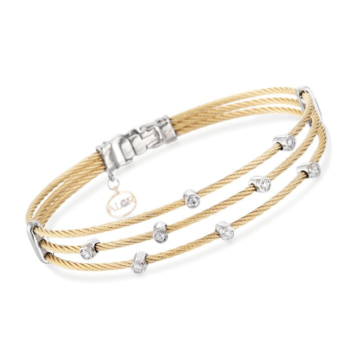 "ALOR ""Classique"" .18 ct. t.w. Diamond Yellow Cable Bracelet with 18kt Two-Tone Gold. 7"""