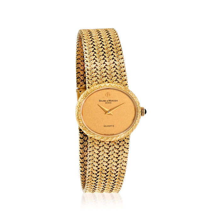 C. 1980 Vintage Baume & Mercier Women's 25mm 18kt Yellow Gold Watch. Size 7, , default