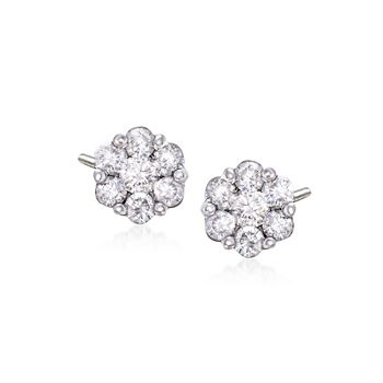 .50 ct. t.w. Diamond Floral Cluster Stud Earrings in 14kt White Gold, , default
