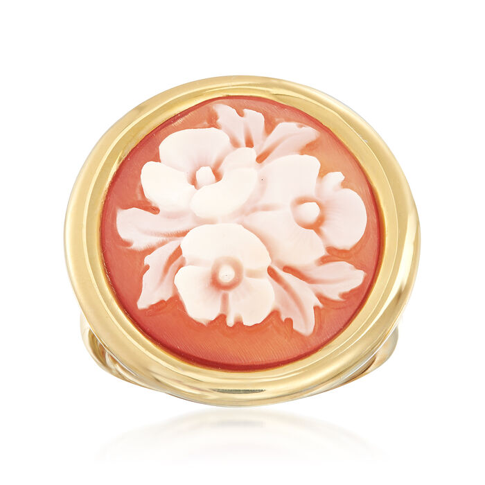 Italian Floral Shell Cameo Ring in 18kt Gold Over Sterling, , default