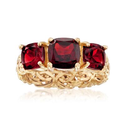 3.90 ct. t.w. Burgundy Garnet Three-Stone Byzantine Ring in 14kt Yellow Gold, , default