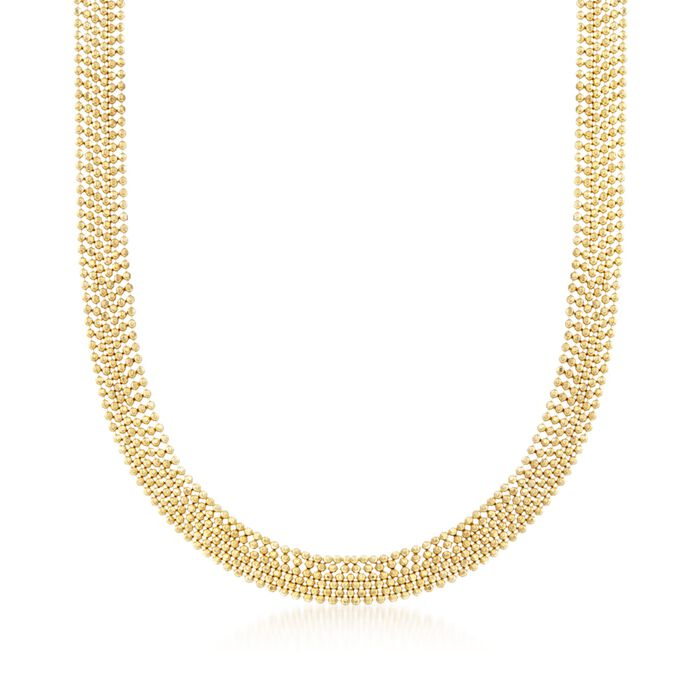 Italian 14kt Yellow Gold Six-Strand Bead Chain Necklace, , default