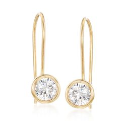 .75 ct. t.w. Bezel-Set CZ Drop Earrings in 14kt Yellow Gold, , default