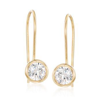 .75 ct. t.w. Bezel-Set CZ Drop Earrings in 14kt Yellow Gold, , default
