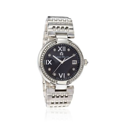 Giorgio Milano Women's 35mm Date Window Stainless Steel Watch With Swarovski Crystals, , default