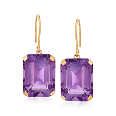 Amethyst Jewelry. 20.00 ct. t.w. Amethyst Drop Earrings in 14kt Yellow Gold 938547