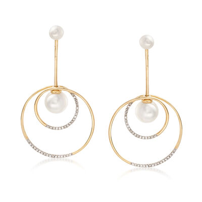 Cultured Pearl and .24 ct. t.w. Diamond Double Circle Drop Earrings in 14kt Gold, , default