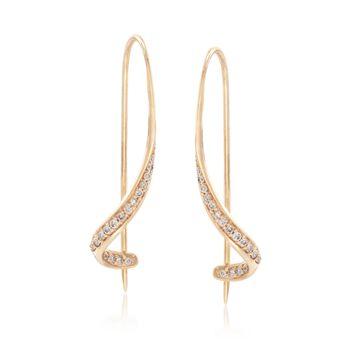 .16 ct. t.w. Diamond Curlicue Drop Earrings in 14kt Yellow Gold, , default