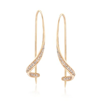 .16 ct. t.w. Diamond Curlicue Drop Earrings in 14kt Yellow Gold, , default
