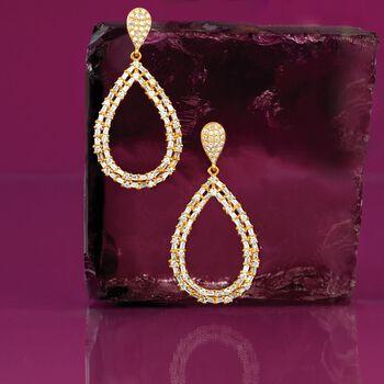 1.04 ct. t.w. Diamond Open Teardrop Earrings in 14kt Yellow Gold, , default
