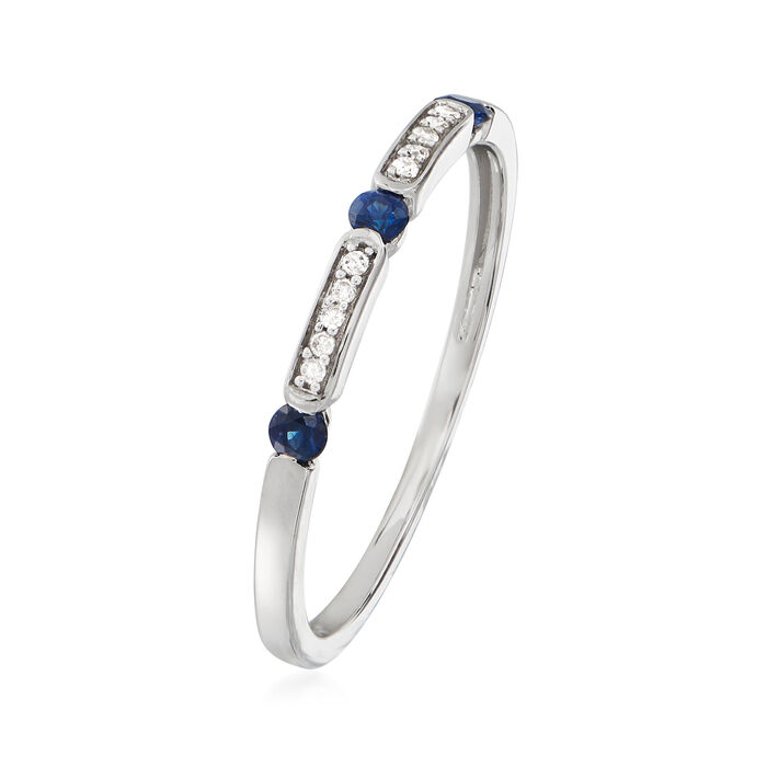 .10 ct. t.w. Sapphire and Diamond-Accented Ring in 14kt White Gold