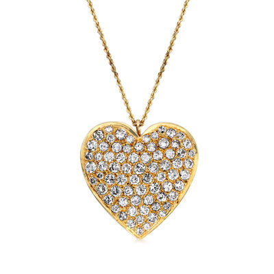 C. 1980 Vintage 10.00 ct. t.w. Diamond Heart Pin/Pendant Necklace in 14kt Rose Gold, , default