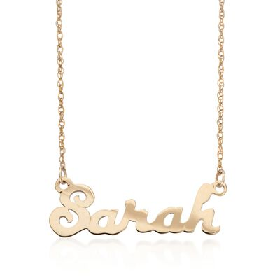 Child's 14kt Yellow Gold Script Name Necklace, , default