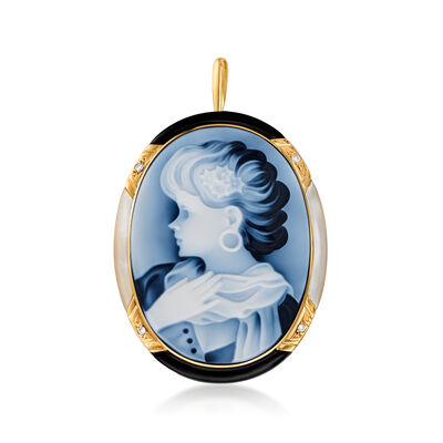 C. 1990 Vintage Blue Agate Cameo, Black Onyx and Mother-Of-Pearl Pin Pendant with Diamond Accents in 18kt Yellow Gold