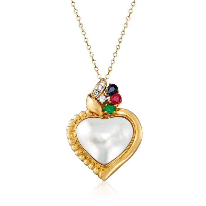"""C. 1980 Vintage Cultured Mabe Pearl and .55 ct. t.w. Multi-Gem Heart Pendant Necklace with .13 ct. t.w. Diamonds in 14kt and 18kt Yellow Gold. 18"""""""