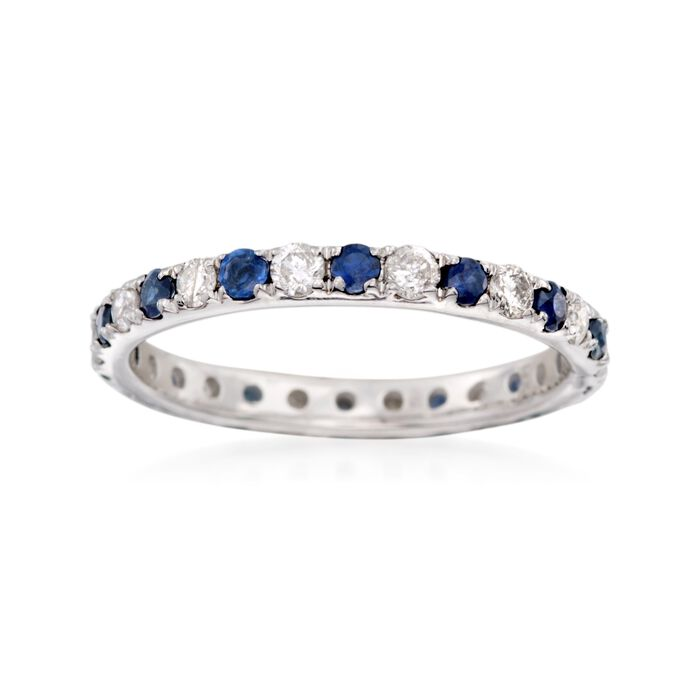 .52 ct. t.w. Sapphire and .50 ct. t.w. Diamond Eternity Ring in 14kt White Gold. Size 8, , default