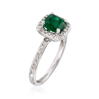 .80 Carat Emerald and .30 ct. t.w. Diamond Ring in 14kt White Gold, , default