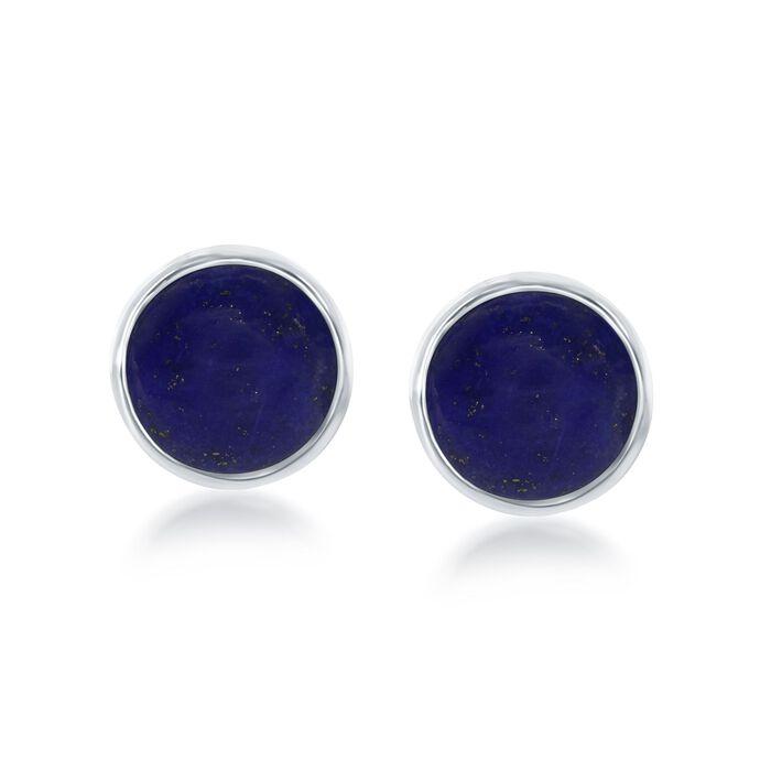 Bezel-Set Lapis Earrings in Sterling Silver, , default