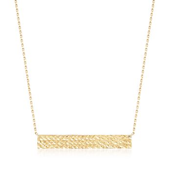 "18kt Yellow Gold Reversible Diamond-Cut Name Bar ID Necklace. 18"", , default"