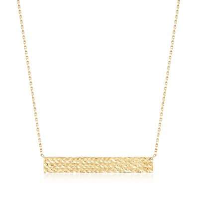 18kt Yellow Gold Reversible Diamond-Cut Name Bar ID Necklace, , default