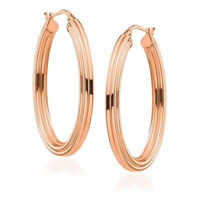 Italian 14kt Rose Gold Oval Hoop Earrings, , default