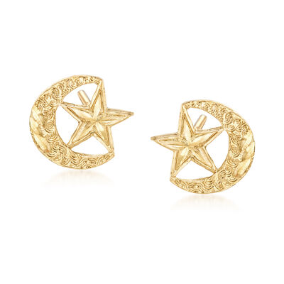 14kt Yellow Gold Crescent Moon and Star Earrings, , default
