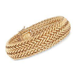 Italian 14kt Yellow Gold Woven-Link Bracelet, , default