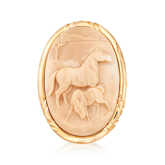 C. 1980 Vintage Carved Coral Horse Cameo Pin/Pendant in 18kt Yellow Gold