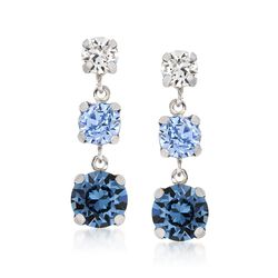 Italian Sterling Silver Drop Earrings With Tonal Blue and Clear Swarovski Crystals, , default