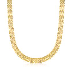 Italian 12mm 18kt Yellow Gold Over Sterling Silver Panther-Link Necklace, , default