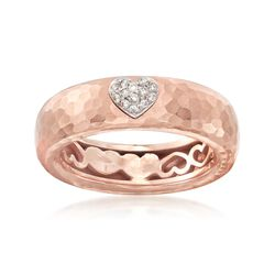 C. 2000 Vintage .10 ct. t.w. Diamond Heart Ring in 18kt Rose Gold. Size 7, , default