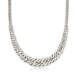 Italian Sterling Silver Graduated Curb-Link Necklace, , default