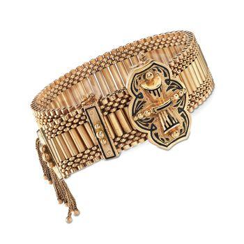 """C. 1950 Vintage 14kt Yellow Gold Tassel Bracelet With Black Enamel. 7"""", , default"""