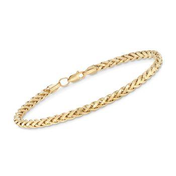 "Men's 4mm 14kt Yellow Gold Wheat Chain Bracelet. 8"", , default"